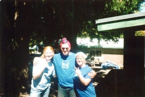 Nikki and Allyson pose with me, shortly after I ponied up my end of a clean cabin award bet