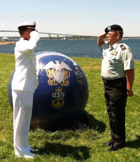 Receiving my first salute from my father at the US Navy's Officer Training Command, June 15th, 2012