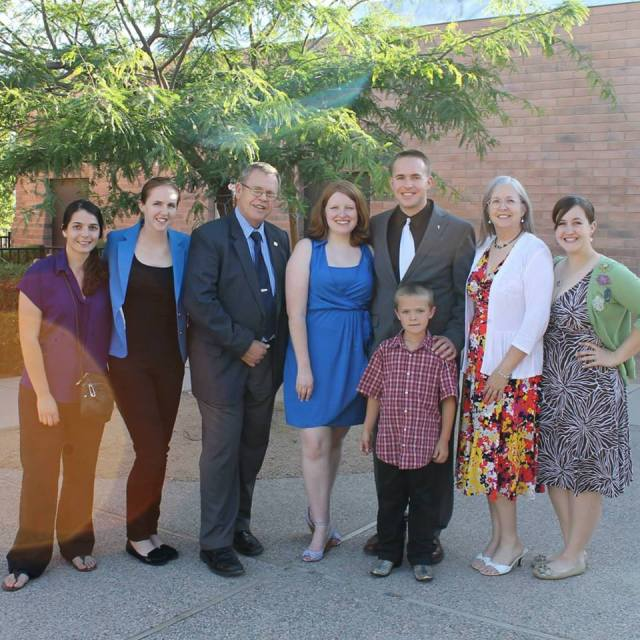 From L to R: my sister's girlfriend, Lacey; my sister, Elisabeth; my father, Jim; my fiancée, Caitie; me; my nephew, Edward; my mom, Debbie; my sister, Colleen