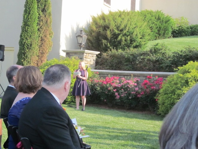 Caitie's cousin, Catherine Kostka, read a poem by Anne Morrow Lindbergh.